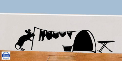 Mouse Hole Funny Mice Home Skirting Board Vinyl Wall Decal Art Sticker WA